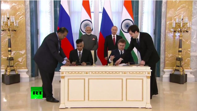 Signing of MoC infront Prime Minister of India and Russia