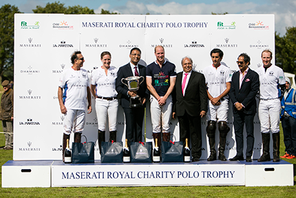Left to Right: Karan Thapar, Nina Clarkin, Amit Dhamani, HRH Prince William, L.N. Dhamani, HH Maharaja of Jaipur, Maharaj Narendra Singh and Olly Tuthill
