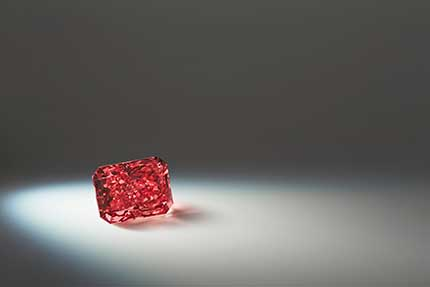 Argyle Everglow 211 carat radiant shaped fancy red