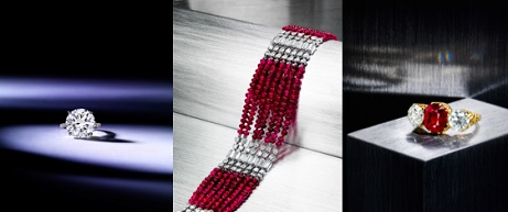 A Diamond Solitaire Ring ($500,000 - 700,000), An Art Deco Ruby and Diamond Bracelet by Cartier ($80,000-120,000) and a Ruby and Diamond Ring by Mermod & Jaccard ($80,000-120,000)