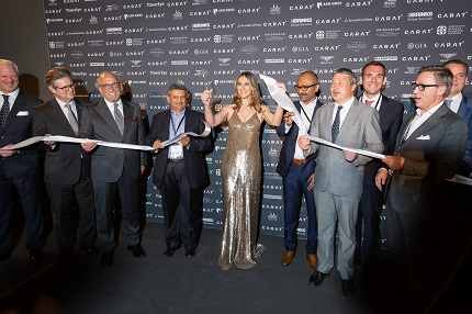 Elizabeth Hurley cuts the ceremonial ribbon to officially open CARAT+ 2018