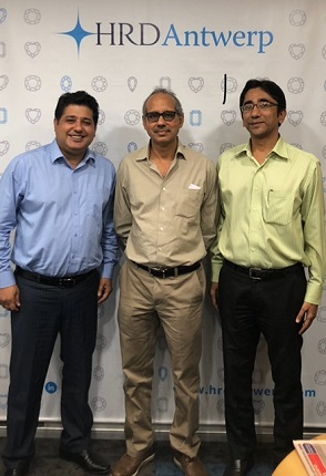 Ravi Chhabria (MD HRD Antwerp -India), Mehul Shah (VP, Bharat Diamond Bourse and Riddhish Parekh (Commercial Director India - HRD Antwerp)