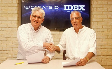 Eli Avidar (left) President of Carats.io, and Ehud D. Cohen, Chairman of IDEX - International Diamond Exchange, following the signing of the MOU between the two companies, signaling the start of their cooperation agreement.