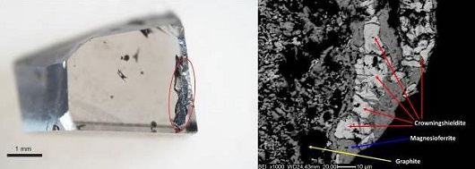 The left image shows a diamond sample that contains the newly recognized mineral crowningshieldite, in the dark area circled in red. The sample is an offcut from a larger type IIa diamond from the Letseng mine, Lesotho. The right image shows an enlargement, using an electron microscope, where individual grains of crowningshieldite are seen in a fine grained mixture with other minerals. Photo credits: Evan M. Smith (left image) and Fabrizio Nestola (right image).
