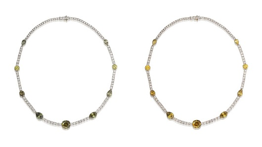"Lot 550 - Chameleon Diamond and Diamond Necklace (HK$1,600,000-3,000,000) The colour of Chameleon diamonds transforms from ""olive"" green to a mesmerising brownish yellow or yellow"