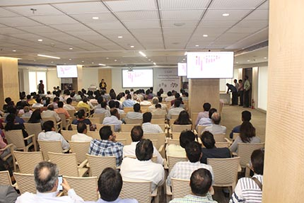 Attendees listening to Dr. Sally Magaña, GIA Research Scientist, while presenting a seminar at Bharat Diamond Bourse