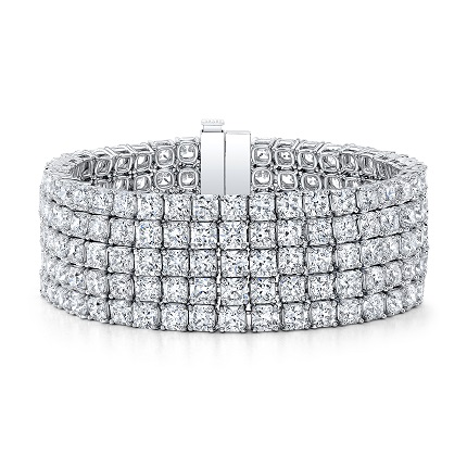 Forevermark Black Label Collection Five Row Bracelet with Black Label Square Diamonds set in Platinum 61.72tcw
