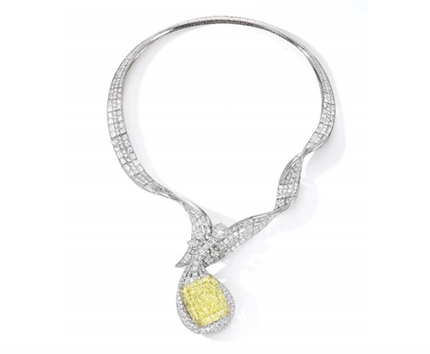 The Dunhuang Pipa Necklace Designed and mounted by Anna Hu Set With a 100.02-carat Fancy Intense Yellow Diamond Est. HK$40-50 million / US$5-6.25 million