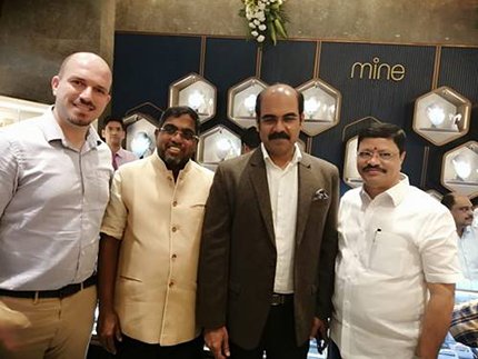 Ramazan Mete Alak - EVP Global Sales of HRD Antwerp (Diamond High Council) with M. P. Ahammed (Chairman - Malabar Gold and Diamonds), Asher O (MD, India - Malabar Gold and Diamonds and Jayantilal Challani (President of The Madras Jewellers & Diamond Merchant's Association)