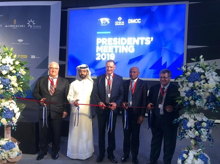 From left to right: Ronnie Van der Linden, President of IDMA, Ahmed Bin Sulayem, Executive Chairman of the DMCC, Ernie Blom, President of the WFDB, Dr. Eugenio Bravo da Rosa, Chairman of Sodiam, Gaetano Cavalieri, President of CIBJO.