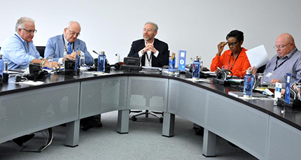WDC President Stephane Fischler (center) addressing the Board of Directors in Antwerp on October 2. He is flanked (from left) by Ronnie VanderLinden, WDC Treasurer; Edward Asscher, WDC Vice President; Marie-Chantal Kaninda, outgoing WDC Executive Director; and Udi Sheintal, WDC Secretary.
