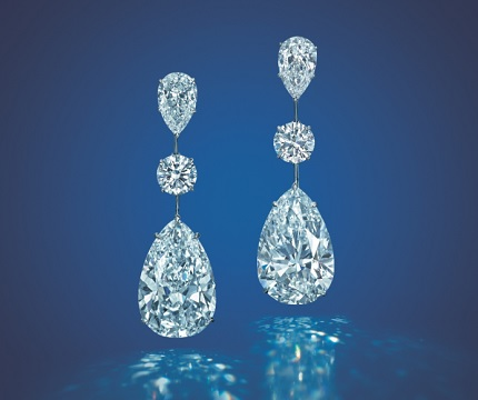 A PAIR OF 17.62 and 17.01 carat D/IF PEAR-SHAPEd diamond earrings  Price realized: HK$31,325,000 /US$4,020,120