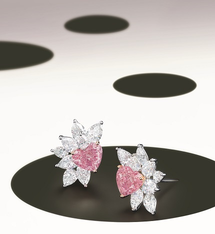 An Exquisite Fancy Intense Purplish Pink Diamond and Diamond Ring Earrings