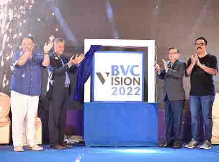 Mr Rajesh Neelakanta, CEO, BVC Logistics, Mr Uday Chinai, Chairman, BVC Logistics, Mr Bharat Badani, President, BVC Clearance & Mr Yogesh Bansode, President, BVC Brinks unveiling the Vision 2022.