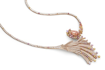 Gübelin Jewellery Blushing Wing Padparadscha Sapphire Red Gold Necklace