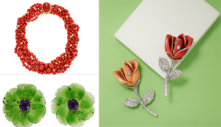 Top left - David Webb Coral Necklace, Bottom Left - Paloma Picassio for Tiffany & Co. Nephrite & Amethyst earrings, Right - Boucheron, Diamond and Enamel Flower Brooches