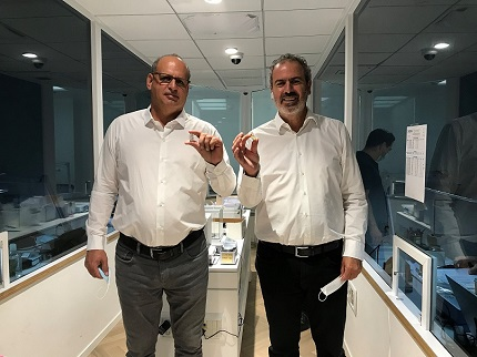 Zvika Zamir (l) and Yoram Dvash at International Tender Center during KOIN tender