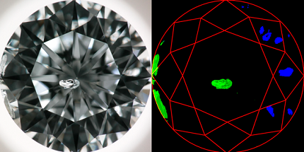 The left image, captured using GIA-developed hardware, trains IBM Research's artificial intelligence (AI) software to recognize inclusions and reflections. In the right image, the AI system has correctly identified the clarity characteristics, enabling the AI system to assign a clarity grade. © GIA