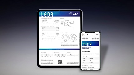 New LGDR by GIA reports with 4Cs color and clarity specifications. Pictured above is a digital GIA Laboratory-Grown Diamond Report. Picture by GIA.