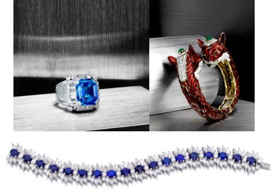 A Sapphire and Diamond Ring ($80,000-120,000), a Diamond, Emerald, Ruby and Enamel Double Fox Head Bangle Bracelet ($20,000-30,000) and a Diamond and Sapphire Bracelet by Bulgari ($40,000-60,000)